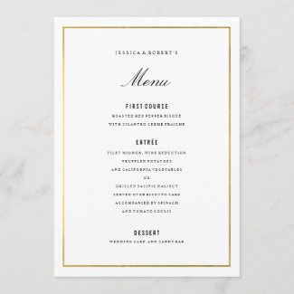 Gold Border Elegant Wedding Menu Card