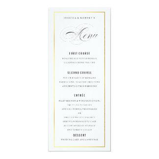"""Gold Border Elegant Wedding Menu Card 4"""" X 9.25"""" Invitation Card"""