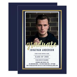 Gold Border & Script on Blue | Photo Graduation Card
