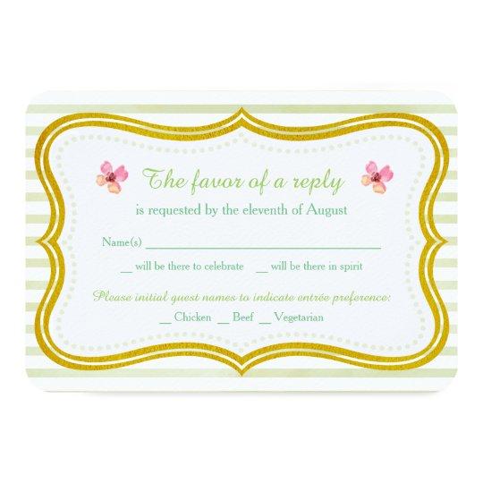 Gold Border | Wedding RSVP Card