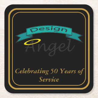 Gold Bordered Square Logo Branded Paper Coasters