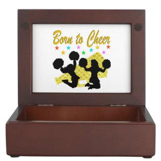 GOLD BORN TO CHEER MEGAPHONE CHEERLEADER KEEPSAKE BOX