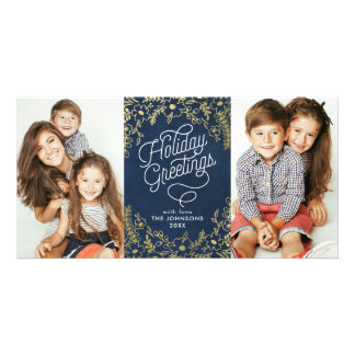 Gold Botanicals Holiday Greetings 2 Photo Photo Card Template