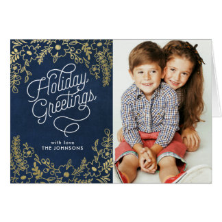 Gold Botanicals Holiday Greetings Folded Photo Card