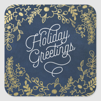 Gold Botanicals Holiday Greetings Sticker
