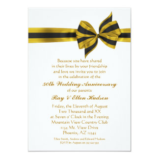 Gold Bow 50th Anniversary Party Invitations