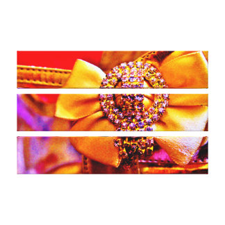 Gold Bow and Crystals Canvas Print