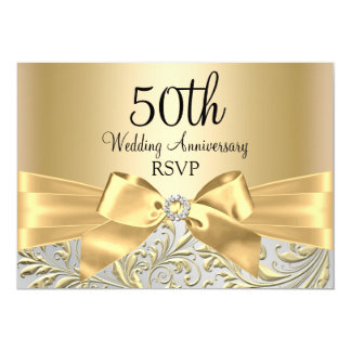 "Gold Bow & Floral Swirl 50th Anniversary RSVP 5"" X 7"" Invitation Card"