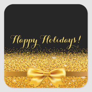 Gold bow with sparkle on black Happy Holidays Square Sticker