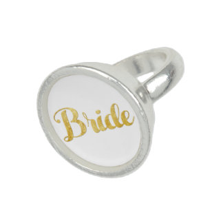 Gold bride photo ring