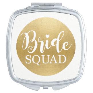 Gold Bride Squad Bridesmaids Shower Wedding Gift Vanity Mirrors