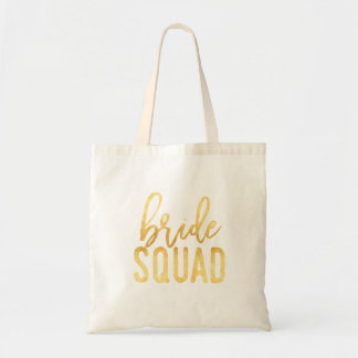 Gold Bride Squad Tote Bag