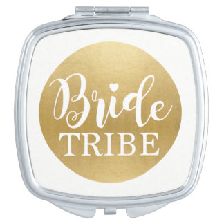 Gold Bride Tribe Bridesmaids Shower Wedding Gift Compact Mirrors
