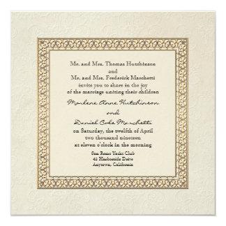 Gold Brocade Damask Floral Formal Elegant Wedding Card