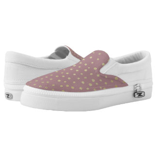 Gold Bronze Dot Pattern Slip On Shoes