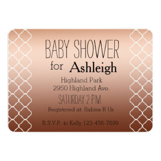Gold Bronze Quatrefoil baby shower Card