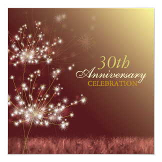 Gold + Brown 30th Fall Wedding Anniversary Party Card