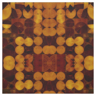 Gold & Brown Abstract Circles Fabric