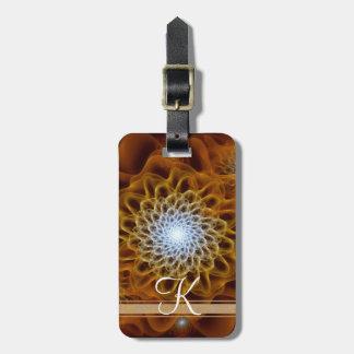Gold Brown Amber Monogram Floral Luggage Tag