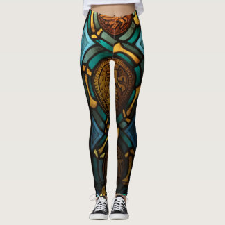 Gold, brown and blue glass pattern leggings