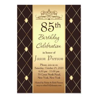 "Gold brown diamond pattern 85th Birthday Party 4.5"" X 6.25"" Invitation Card"