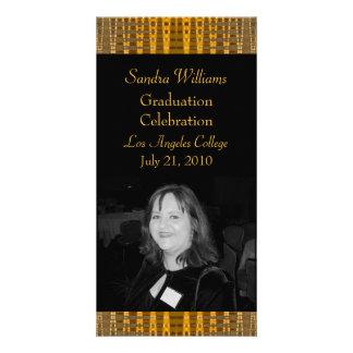 gold brown graduation photo card template