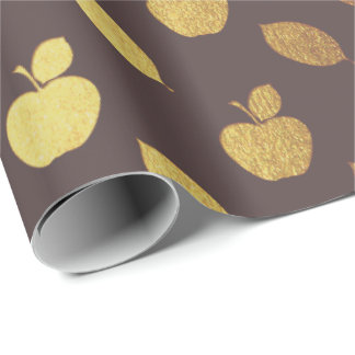 Gold Brown  Maroon  Metallic Apple Fruits Foil Wrapping Paper