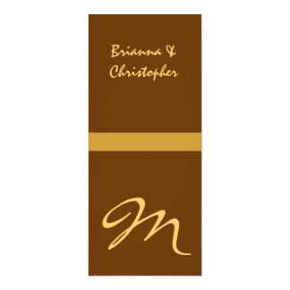 "Gold & Brown Monogram Initial Wedding Invitation 4"" X 9.25"" Invitation Card"