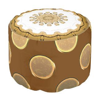 Gold Brown Polka Sturdy Spun Polyester Round Pouf