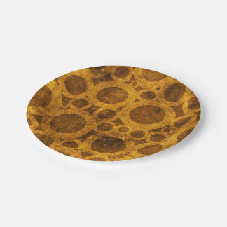 Gold Brown Steampunk Grunge Pattern Paper Plates