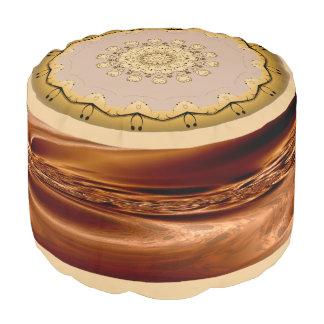 Gold Brown Sturdy Spun Polyester Round Pouf