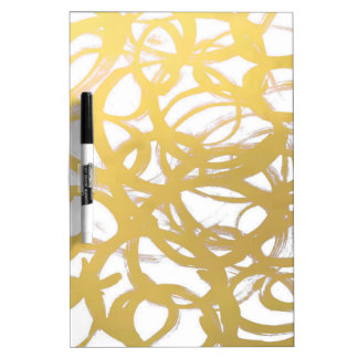 Gold Brushstroke Watercolor Circles Dry-Erase Whiteboards
