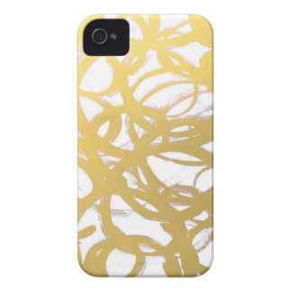 Gold Brushstroke Watercolor Circles iPhone 4 Case-Mate Cases