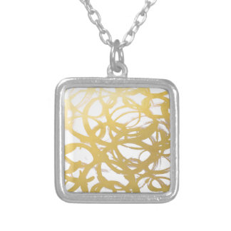 Gold Brushstroke Watercolor Circles Silver Plated Necklace