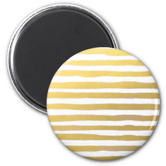 Gold Brushstroke Watercolor Stripes 2 Inch Round Magnet