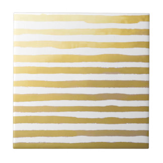 Gold Brushstroke Watercolor Stripes Ceramic Tile
