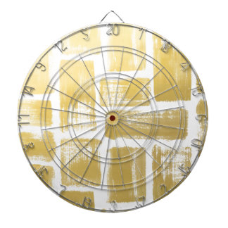 Gold Brushstroke Watercolor Stripes Dartboard