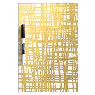 Gold Brushstroke Watercolor Stripes Dry Erase Board