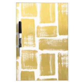 Gold Brushstroke Watercolor Stripes Dry Erase White Board