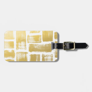 Gold Brushstroke Watercolor Stripes Luggage Tag