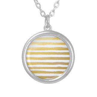 Gold Brushstroke Watercolor Stripes Silver Plated Necklace
