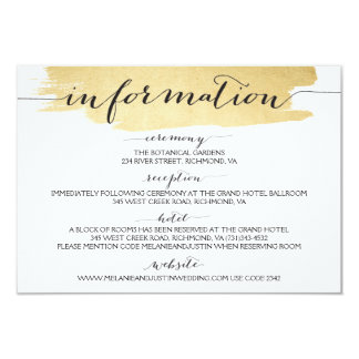 Gold Brushstrokes We Do Wedding Information Card