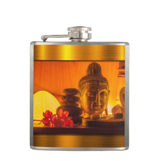 Gold Buddha Hip Flask