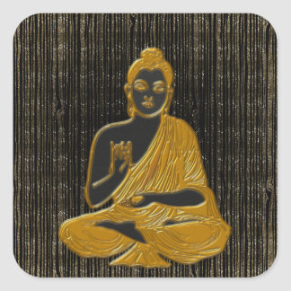 gold Buddha Square Sticker