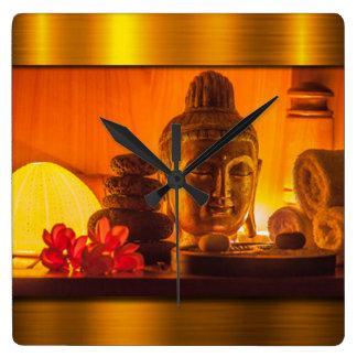Gold Buddha Square Wall Clock