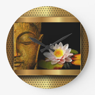 Gold Buddha With Lotus Flower Large Clock