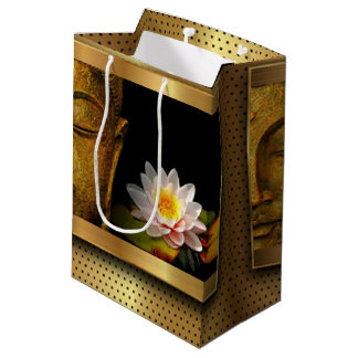 Gold Buddha With Lotus Flower Medium Gift Bag