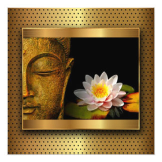 Gold Buddha With Lotus Flower Photo Print