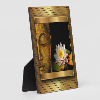 Gold Buddha With Lotus Flower Plaque