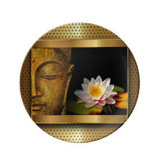 Gold Buddha With Lotus Flower Plate